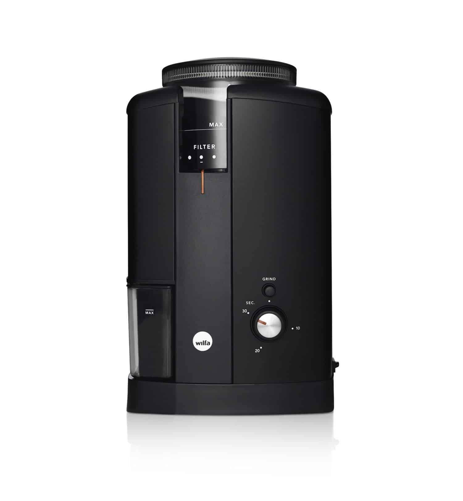 Wilfa svart elektrisk kaffekvarn från www.kaffebönor.se